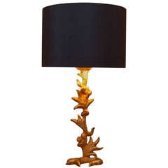 Sculptural Gilt Bronze Table Lamp by Mathias, Prod. Fondica