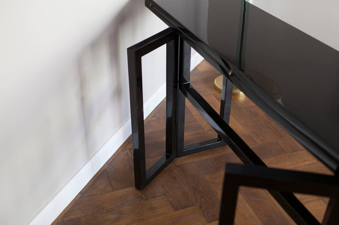 Lacquered Console Table by Maison Jansen, France circa 1970 For Sale