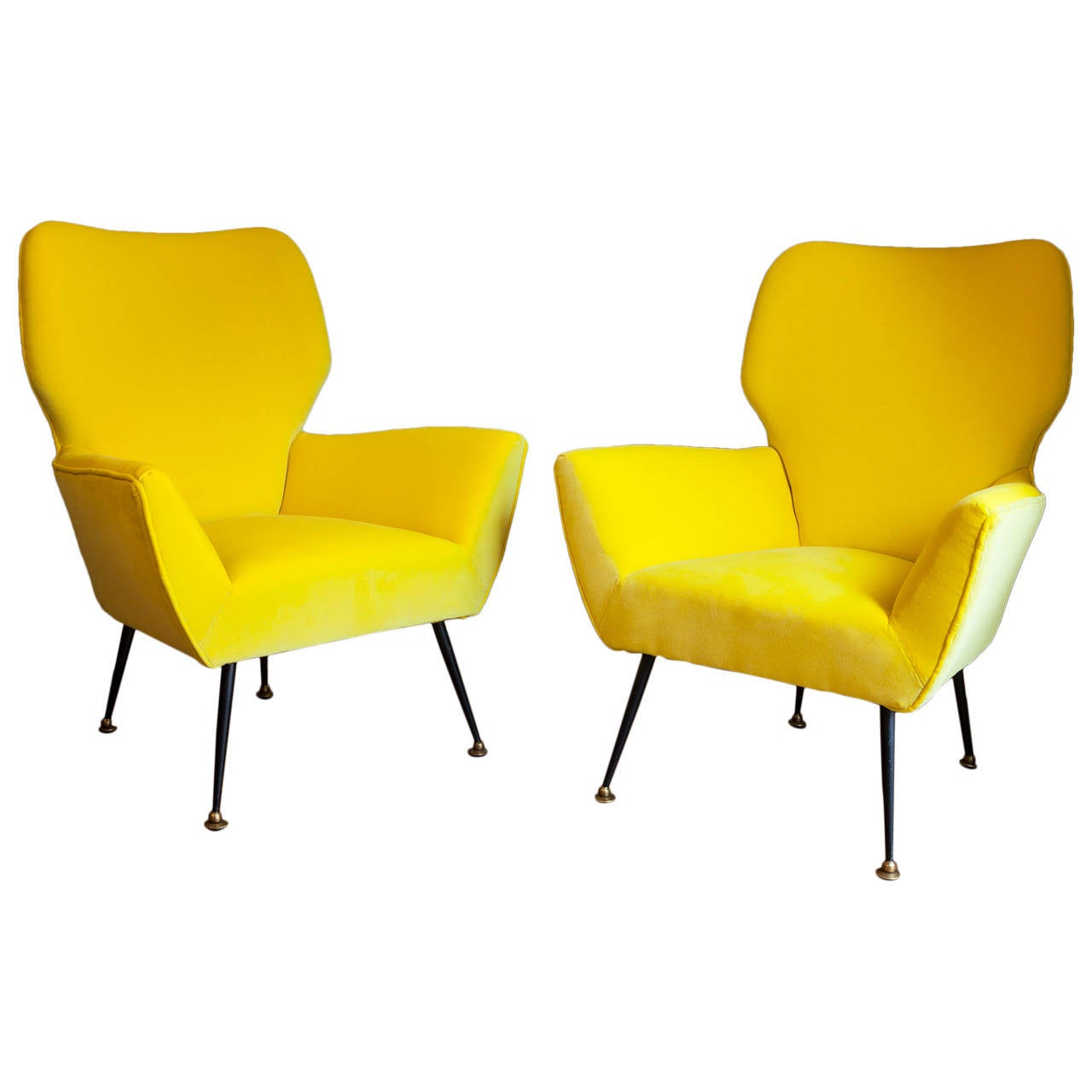 Pair of chairs italy circa 1950 dedar fabric at 1stdibs for Furniture 1950