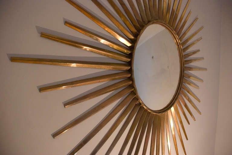 Big Brass Convex Sunburst Mirror 193 Cm Diameter France