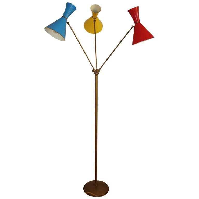 angelo lelli arredoluce floor lamp three arm italy circa 1950 at. Black Bedroom Furniture Sets. Home Design Ideas