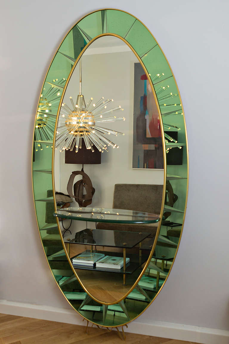 Cristal art green glass large mirror italy circa 1955 at for Tall glass mirror