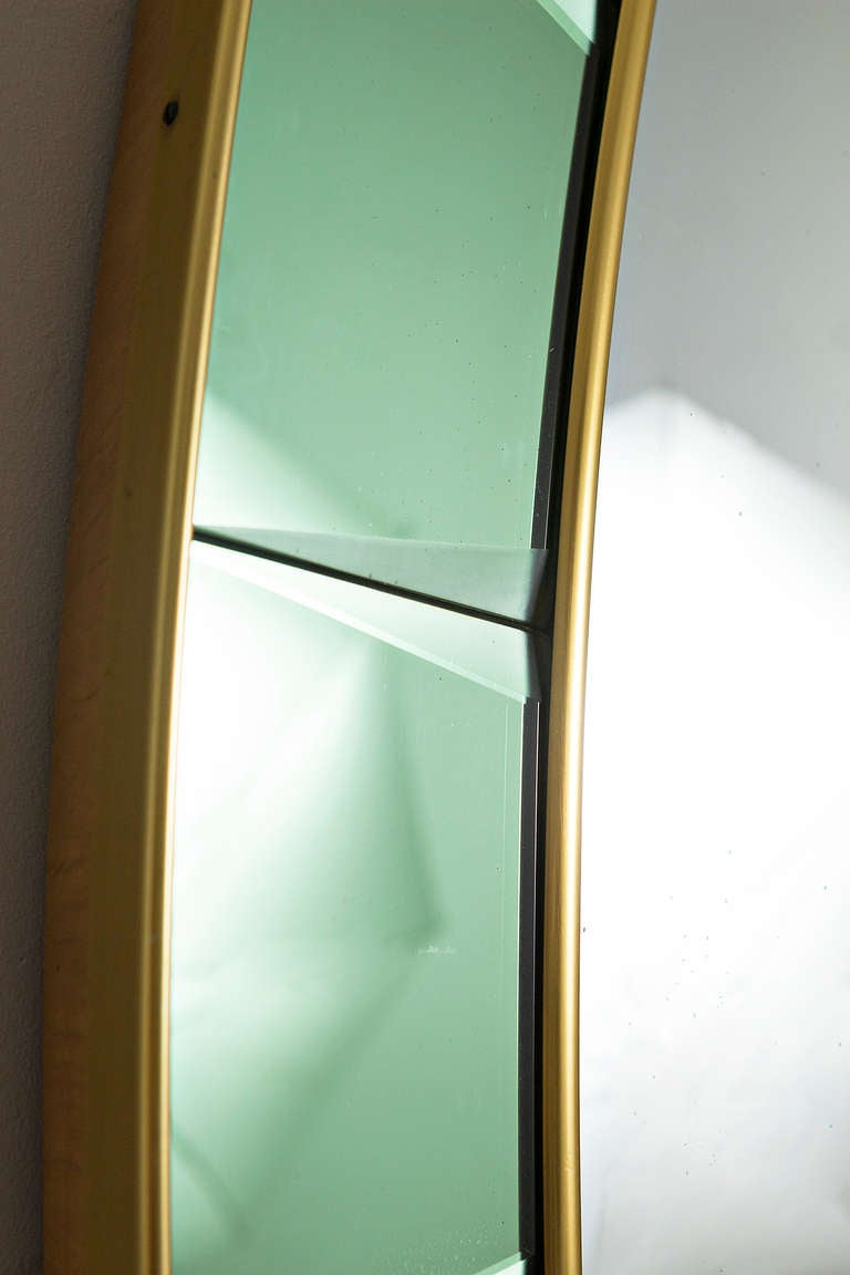 Cristal art green glass large mirror italy circa 1955 at for Full length glass mirror