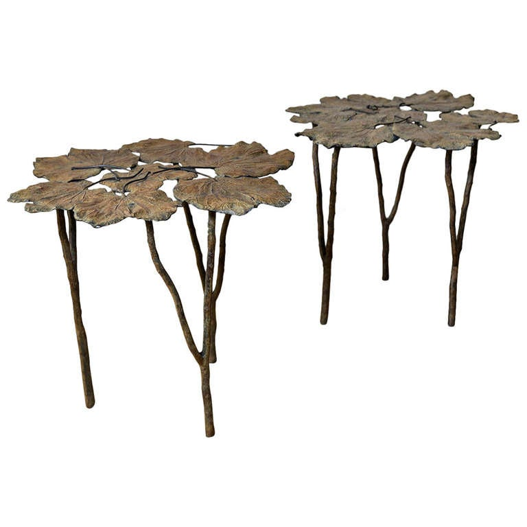 Pair of Leaf Bronze Side Tables