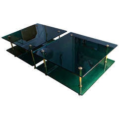 Sofa Tables by Raphael in Green Glass by Saint Gobain, France circa 1960