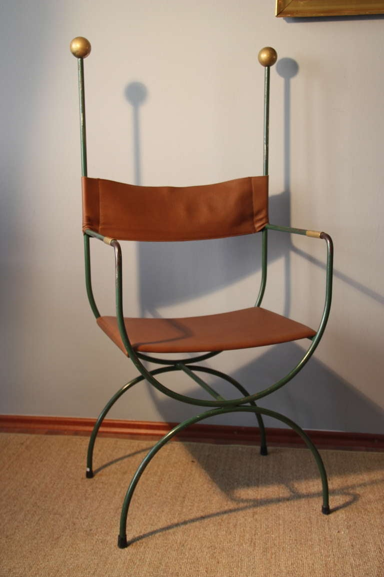 Iron chairs maison jardin france circa 1940 re upholstered in leather at 1stdibs - Maison jardin century furniture caen ...