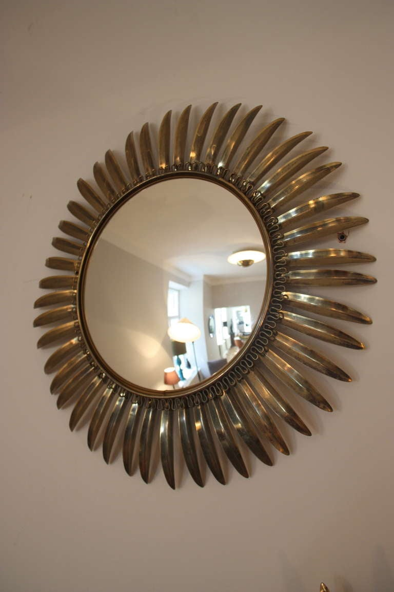 Sunburst mirror wall five brass convex mirrors france for Sunburst mirror