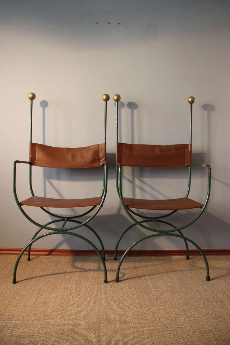 Iron chairs maison jardin france circa 1940 re upholstered in leather at 1stdibs - Maison jardin furniture nancy ...