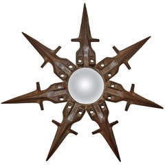 Sunburst Iron Mirror, France circa 1940