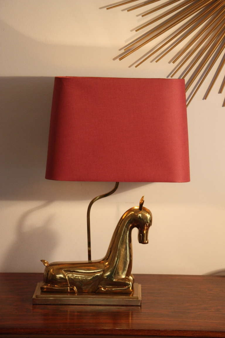 Franz Hagenauer attr. table lamp, brass doe, 1960`s Austrian 2