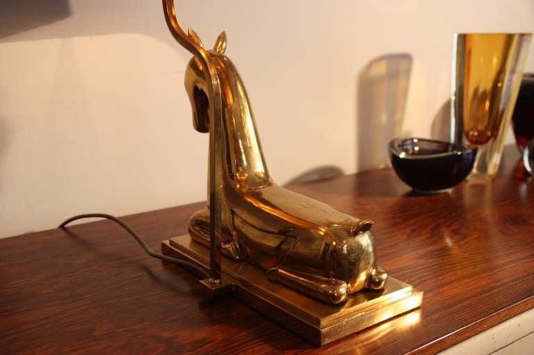 Franz Hagenauer attr. table lamp, brass doe, 1960`s Austrian 9