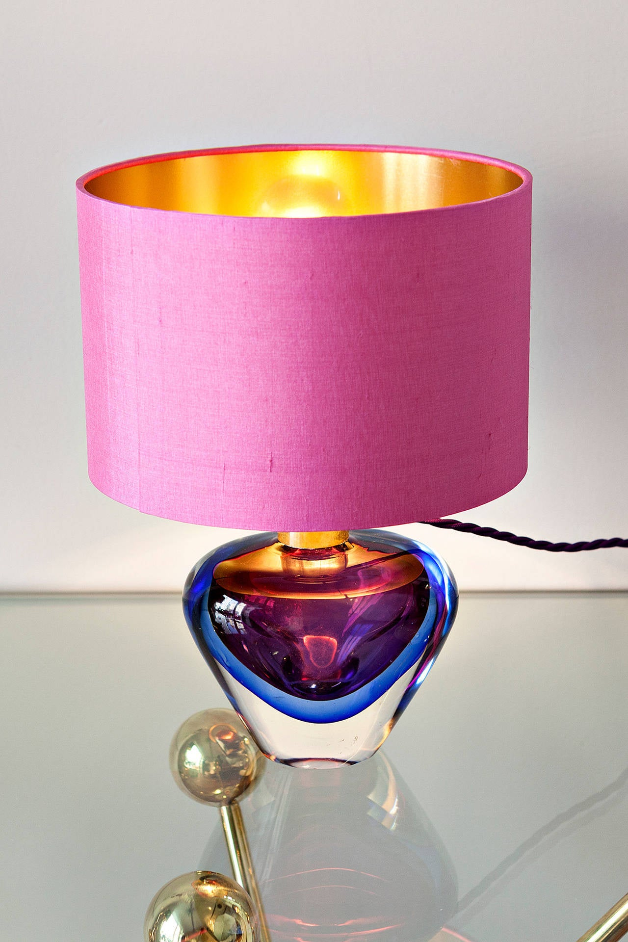 Very elegant Table lamp by Flavio Poli for Seguso Murano Italy circa 1950, very heavy blown Murano glass in fantastic purple and pink color, new Dupion silk shade inside golden.