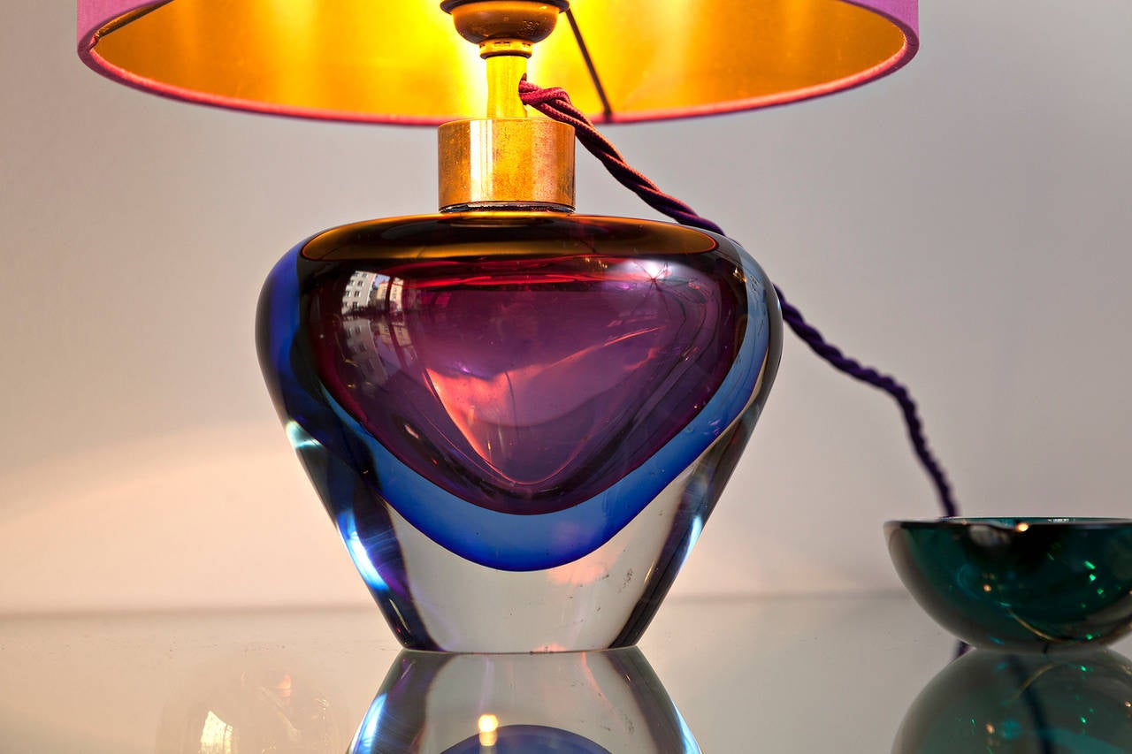 Mid-20th Century Flavio Poli Table Lamp for Seguso, Italy circa 1950 For Sale