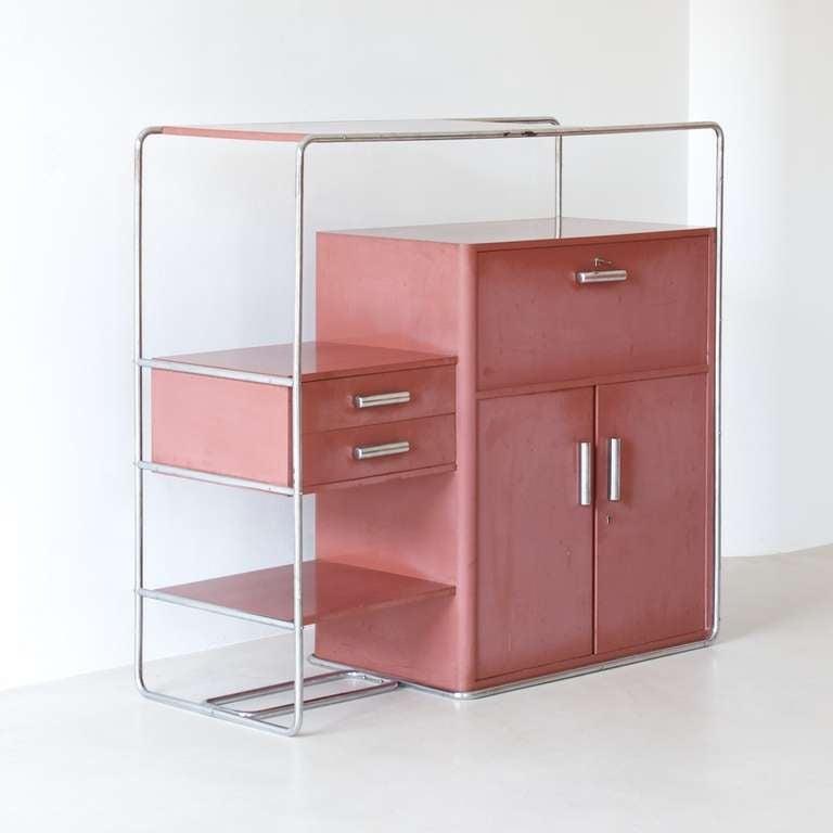 rare bauhaus cabinet by bruno weil for thonet at 1stdibs. Black Bedroom Furniture Sets. Home Design Ideas