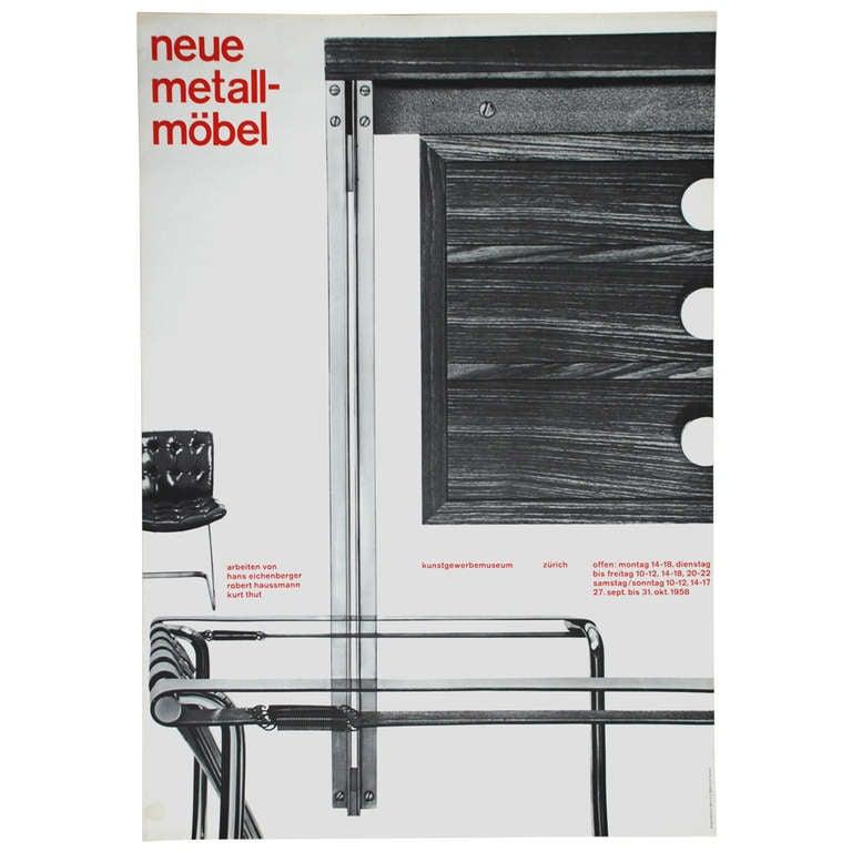 alfred habl tzel 39 neue metall m bel 39 vintage poster 1958 at 1stdibs. Black Bedroom Furniture Sets. Home Design Ideas