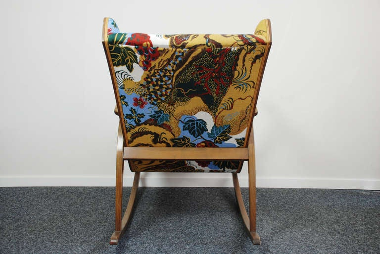 Knoll antimott rocking chair new fabric josef frank 1945 for sale at 1stdibs - Knoll rocking chair ...