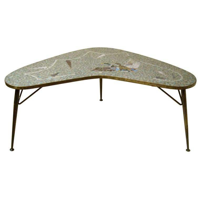 Mid Century Boomerang Mosaic Table At 1stdibs