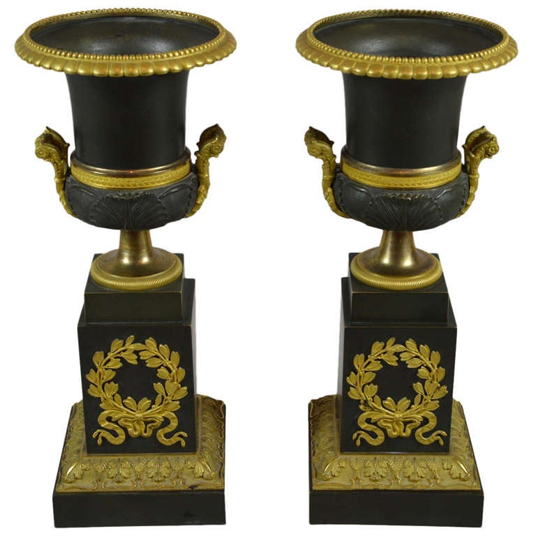 Dark Verdigris Green Ornate Pedestal Light: A Nice Pair Of Small Partly Gilded Dark Green Patina