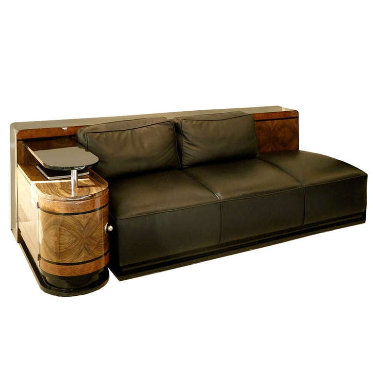 very elegant art deco leather sofa. Black Bedroom Furniture Sets. Home Design Ideas
