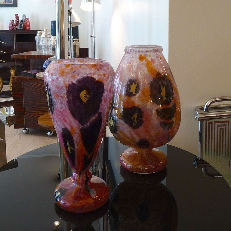 Charles Schneider (1881-1962) Jade Vase  Multi layered glass vase paunchy body, hemmed neck and bulbous curved base. White, orange and pink powdered glass with yellow and violet powder inclusions in a floral theme. Sandblasted signature SCHNEIDER on