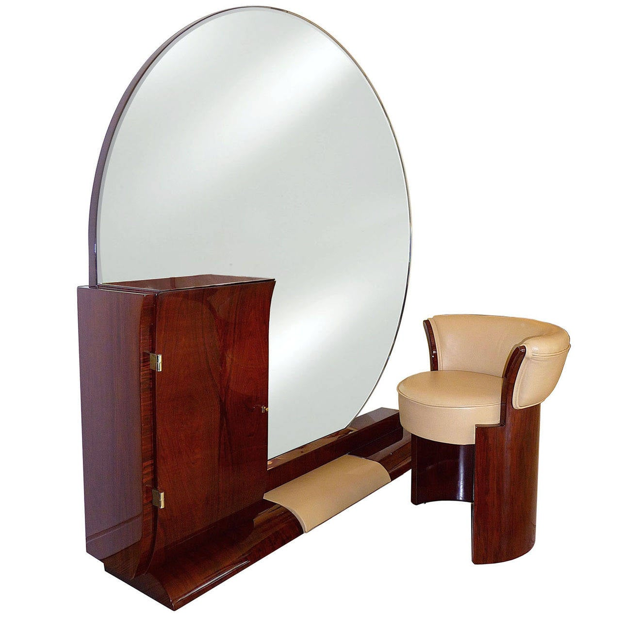 art deco coiffeuse with tabouret by jean pascaud at 1stdibs. Black Bedroom Furniture Sets. Home Design Ideas