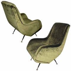 Pair of Armchairs Designed by Aldo Morbelli for I.S.A. Bergamo