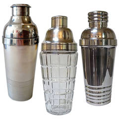 Three Art Deco Cocktail Shakers