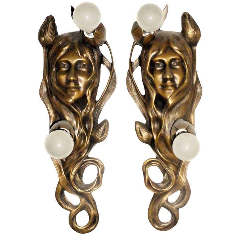 Art Nouveau Bronze Sconces Maurice Bouval France Around