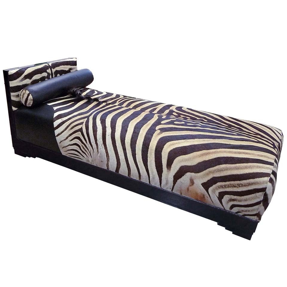 Exquisite art deco french chaise longue with zebra skin at for Art nouveau chaise longue