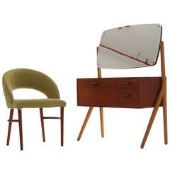 Sweet Danish Modern Child's Dressing Table And Chair