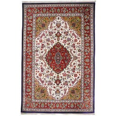 Pure silk persdian Qum rug