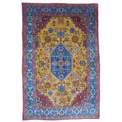 Vintage Qum Wool And Silk Rug mustard blue and red colors