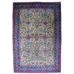 A vintage Garden Of Paradise Rug Beige Red and Blue
