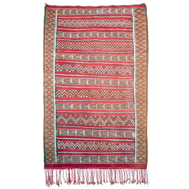 Vintage Zemmour North African Berber Kilim Carpet At 1stdibs