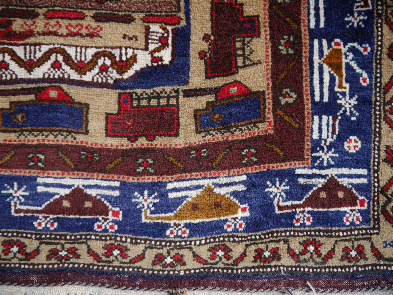 Vintage Afghan War Rug With Tanks And Helicopters For Sale