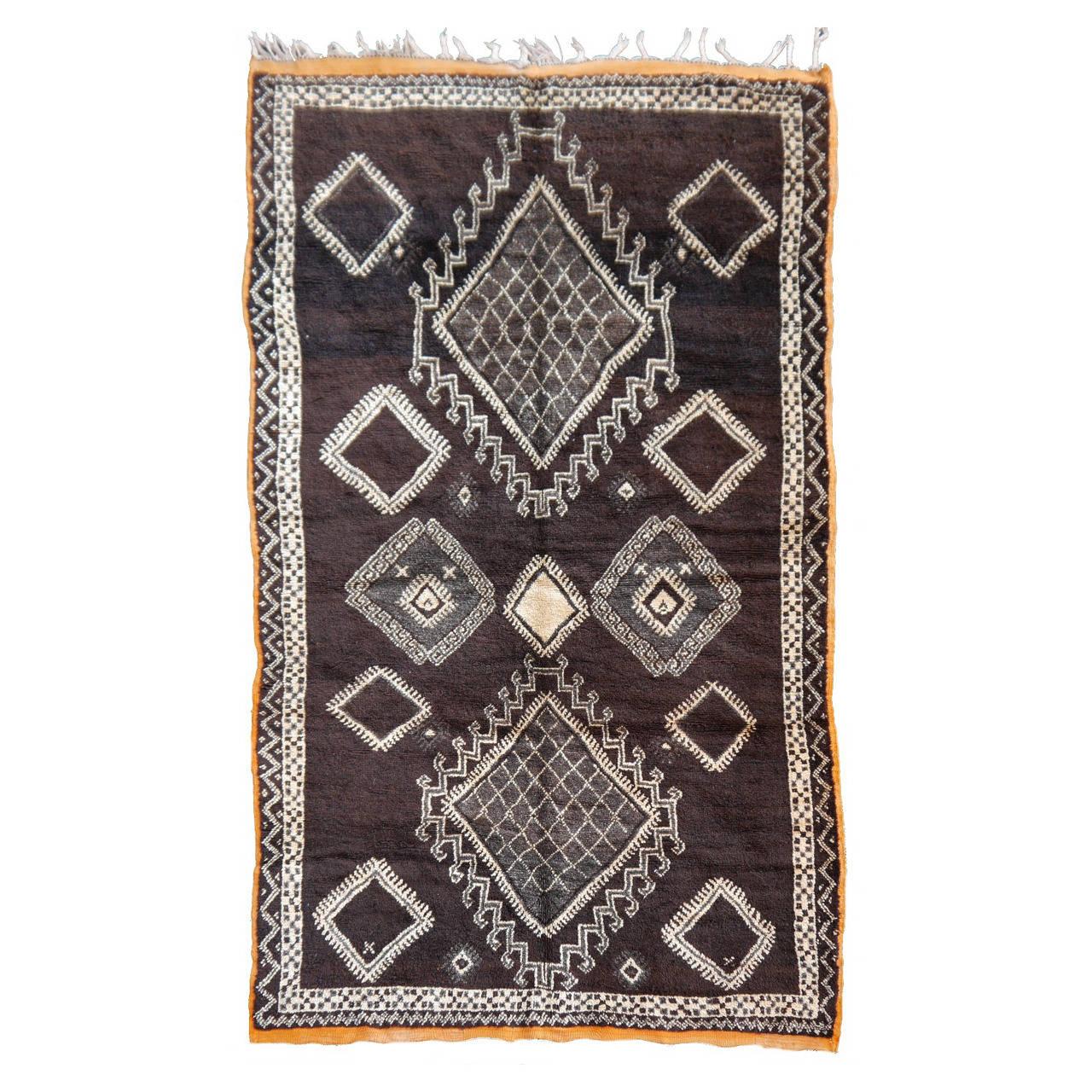 rare dark brown north african vintage berber rug with 22 diamonds
