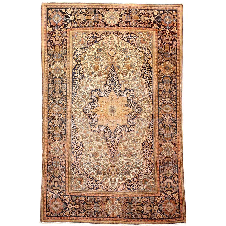 19th Century Mohtasham Kashan Fine and Rare Collectors Rug For Sale