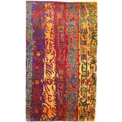 Modernist Vintage Sari Silk Rug
