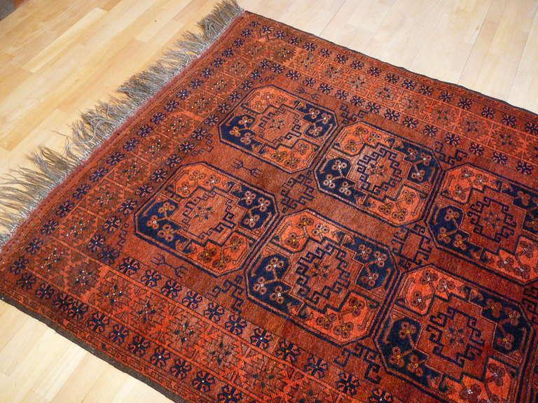 Late 20th Century Vintage Afghan Ersari Tribal Rug For