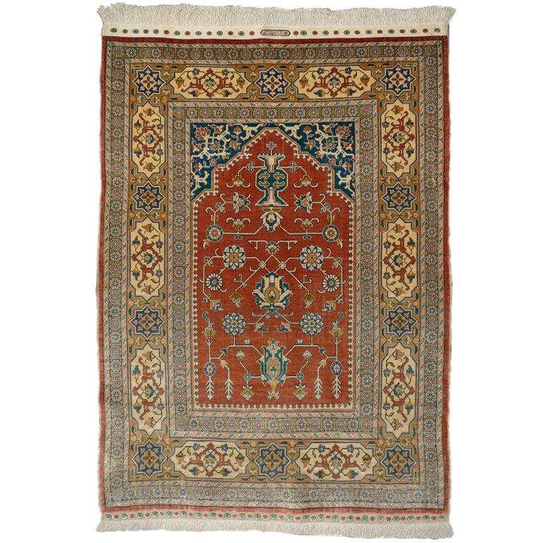 Pure Silk Hereke Ozipek Prayer Rug At 1stdibs