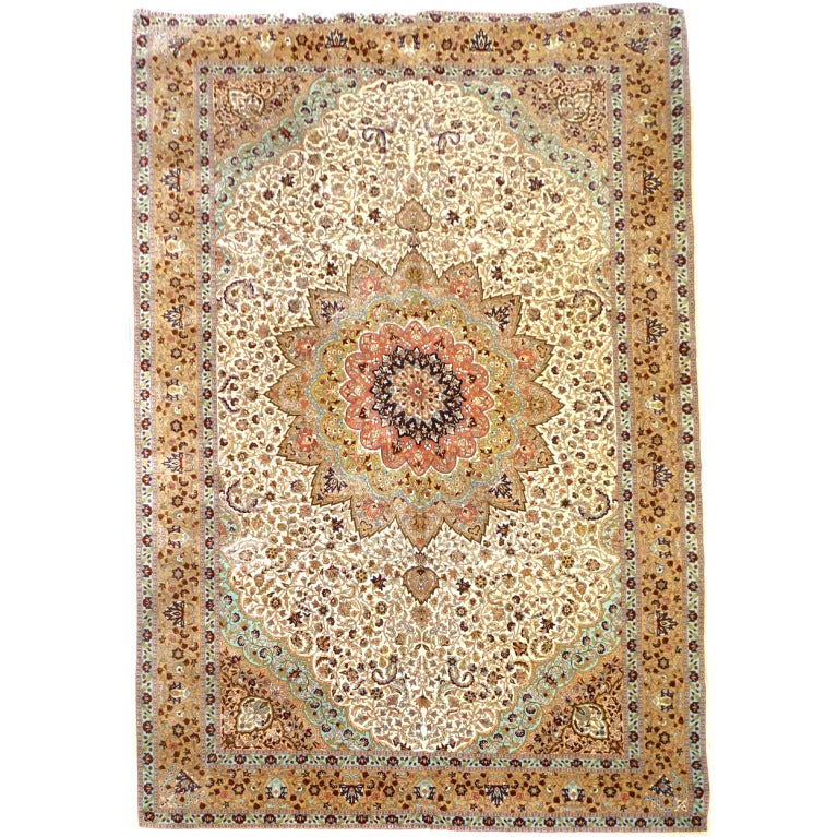 Fine Rug Vintage Turkish Hereke Carpet Oversize circa 17 x 11 ft  For Sale