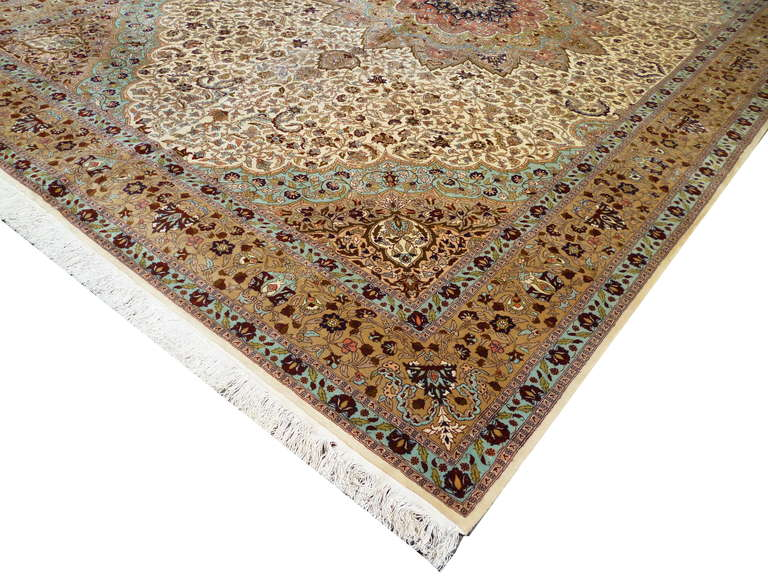 Oushak Fine Rug Vintage Turkish Hereke Carpet Oversize circa 17 x 11 ft  For Sale