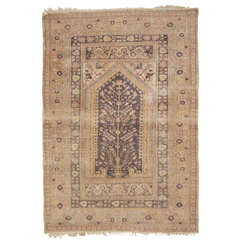 Antique Cotton Kayseri Prayer rug distressed look