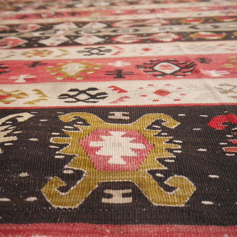 A classic Sharkoy Balkan Kilim with distinguished small pattern design. Unusual size.