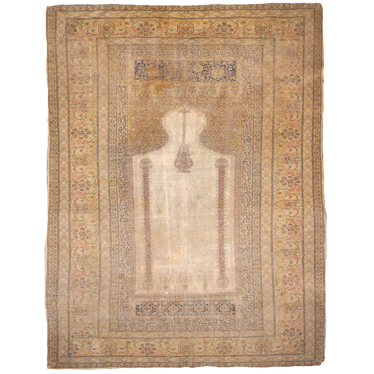 Antique Turkish Distressed Bandirma Silk Prayer Rug For