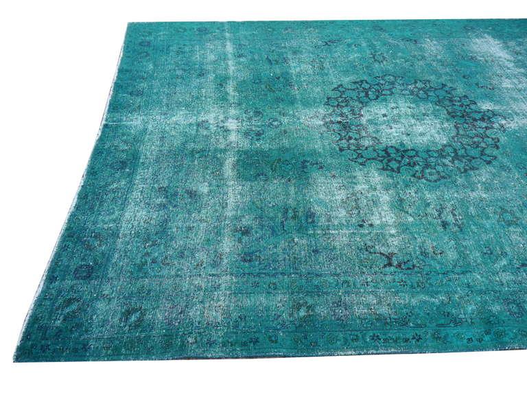 Turkish Distressed Vintage Emerald Green Overdyed Rug At