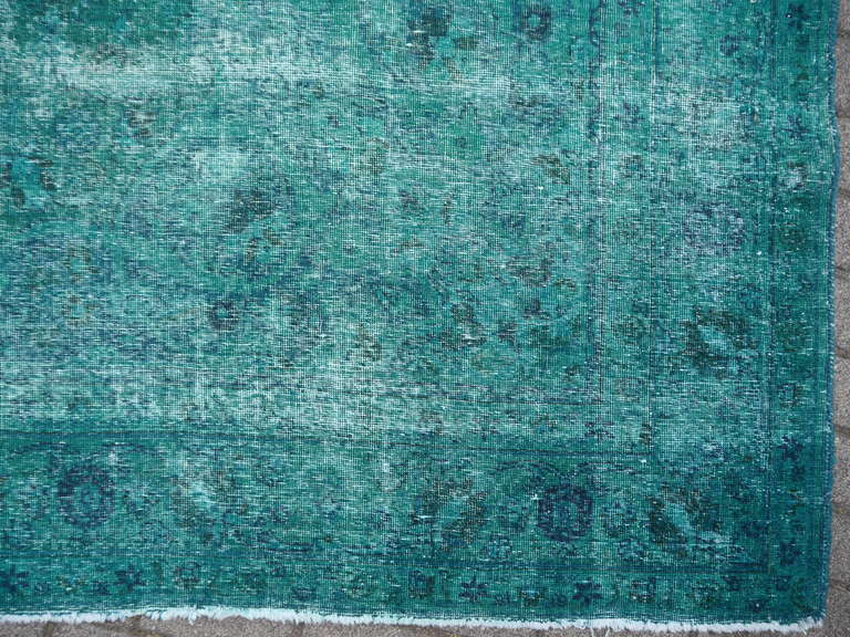 Turkish Distressed Vintage Emerald Green Overdyed Rug In Condition For Lohr Bavaria
