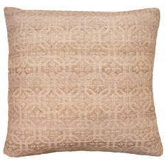 Hand-Woven Jacquard Pillow Cover in Beige or Sand