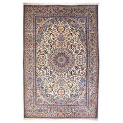 Very Fine Wool and Silk Nain Rug Beige and Blue