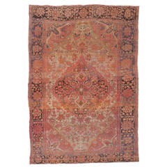 Antique Farahan Rug distressed and faded industrial style